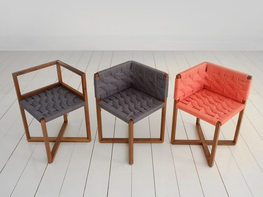 Open back fabric chair DINING CHAIR | Open back chair by Efasma