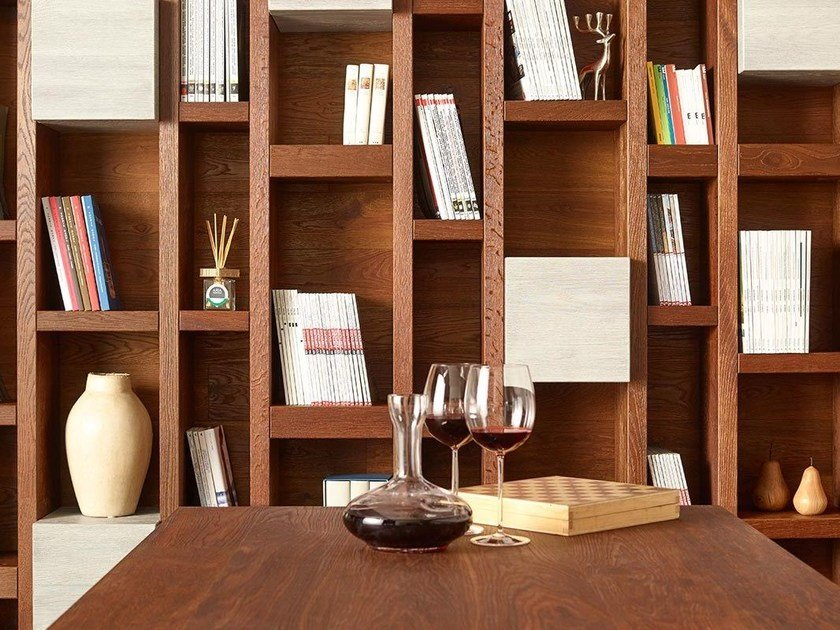 Wall-mounted wooden bookcase DISEGNODILEGNO | Bookcase by FIEMME 3000