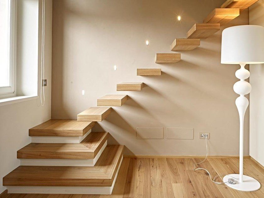 Modular wooden Open staircase DISEGNODILEGNO | Open staircase by FIEMME 3000