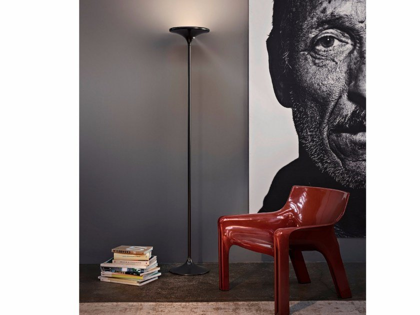 LED metal floor lamp DISK - Olev by CLM Illuminazione