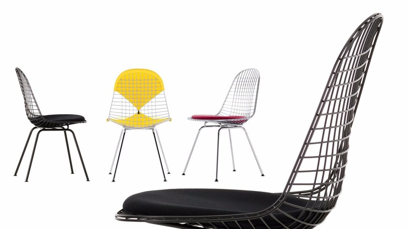 Sedia in acciaio dkx collezione wire chair by vitra design for Sedia design vitra