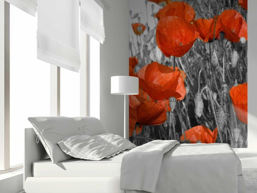 Washable non-woven paper wallpaper with floral pattern DL0014 - LGD01