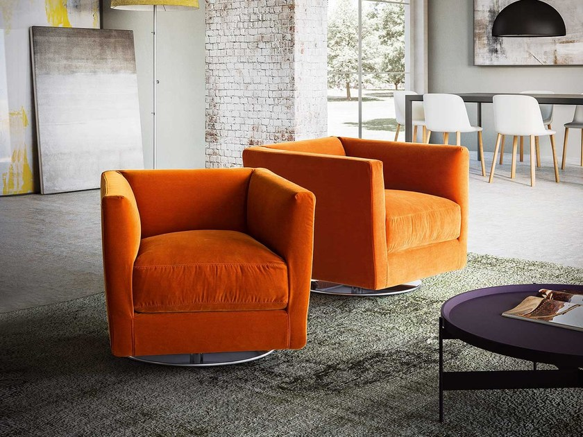 Swivel upholstered fabric armchair with armrests DOLCEVITA by PIANCA