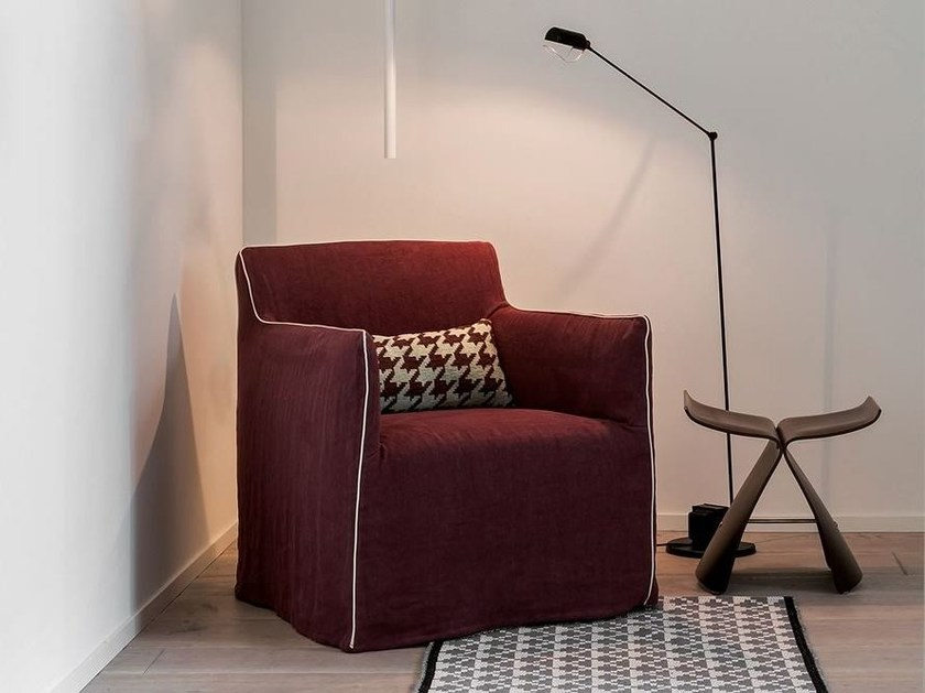 Upholstered fabric armchair with armrests DOLLY - Dall'Agnese