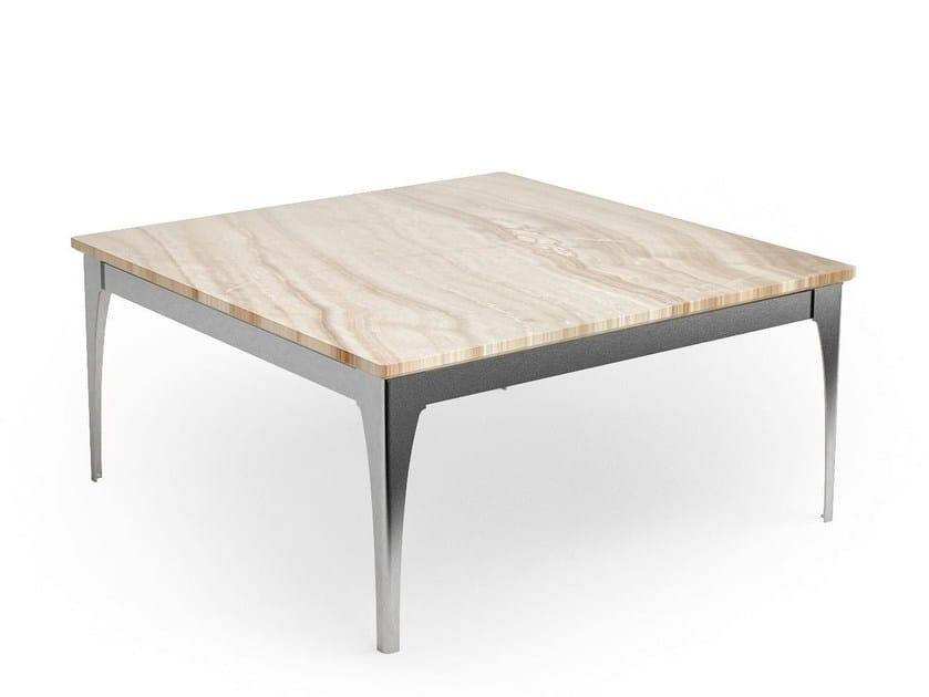 Tavolino basso da caffè in cristallo in stile moderno con base a 4 razze DOLOMITE | Tavolino basso - Caroti