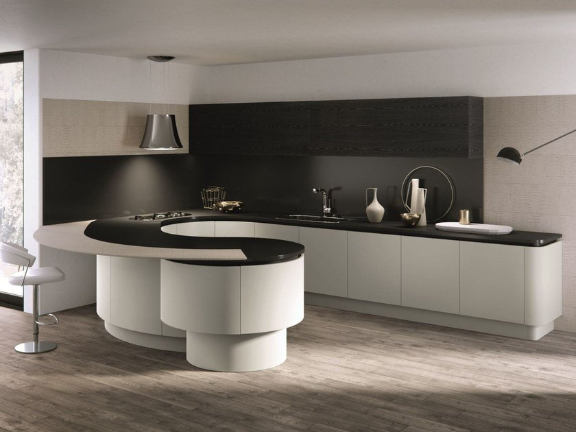 Lacquered kitchen with peninsula DOMINA | Kitchen with peninsula by Aster Cucine