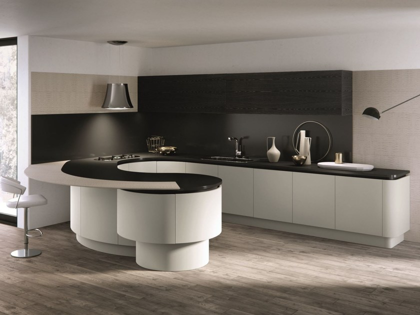 Lacquered kitchen with peninsula DOMINA | Kitchen with peninsula - Aster Cucine