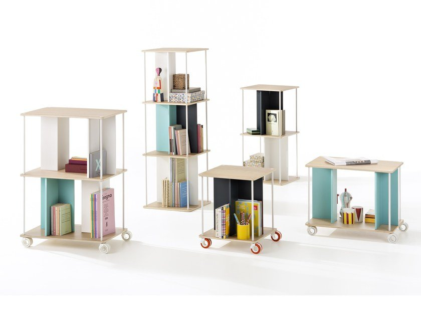 Open freestanding double-sided wooden bookcase DOMINO by B-LINE