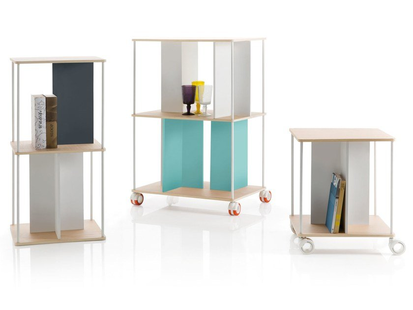 Contemporary style open freestanding double-sided wooden bookcase DOMINO - B-LINE