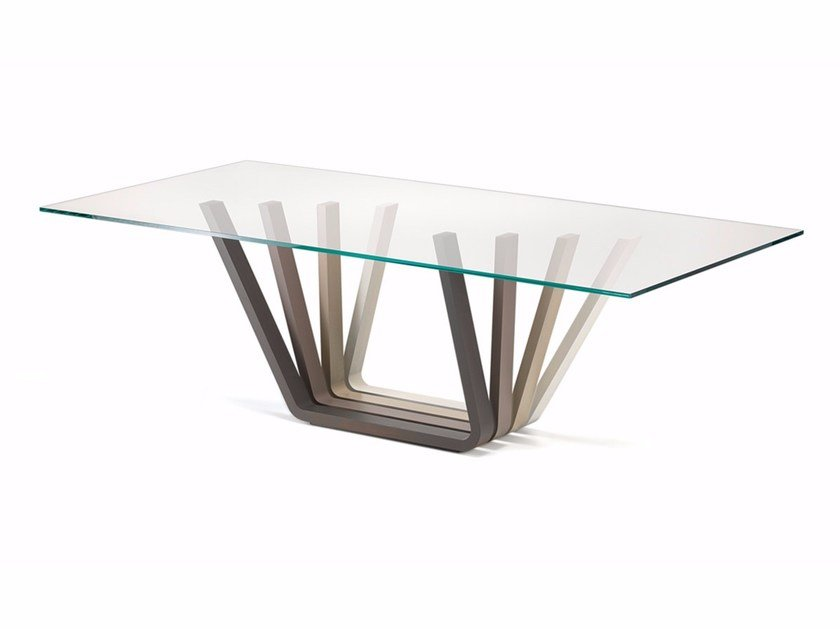 Rectangular wood and glass table DOMINO - Cattelan Italia