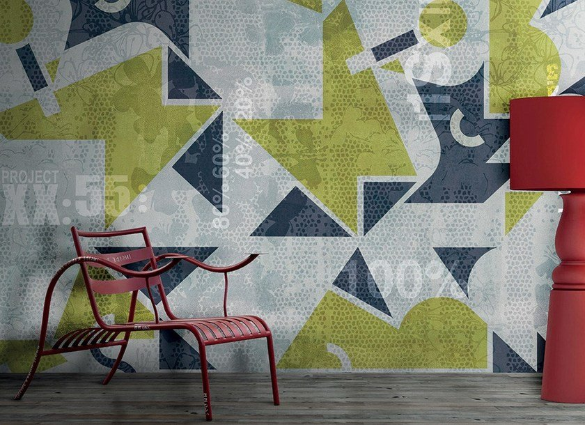 Contemporary style writing geometric washable synthetic material wallpaper DOPPIO SENSO - N.O.W. Edizioni