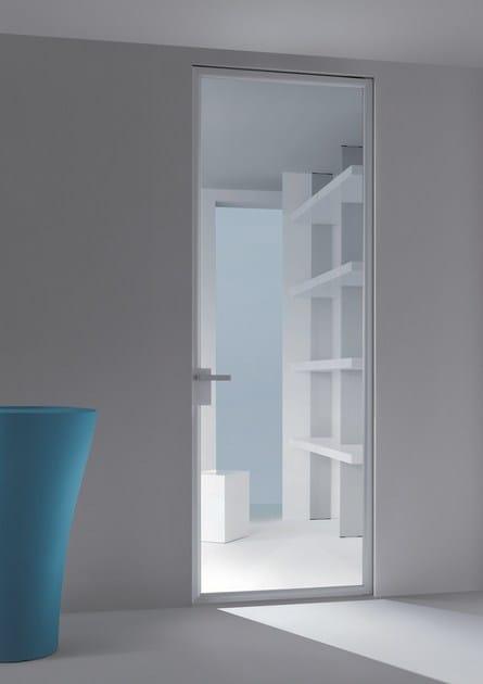 Porta a bilico in alluminio e vetro con cerniere a scomparsa DORSIA  Porta - RES