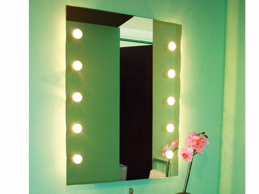 Wall-mounted mirror with integrated lighting DOTLIGHT by Top Light