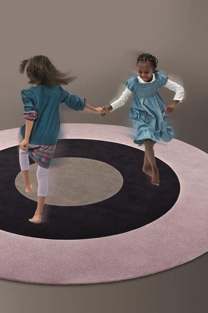Handmade round wool rug DOTS + STRIPES 04 - OBJECT CARPET GmbH