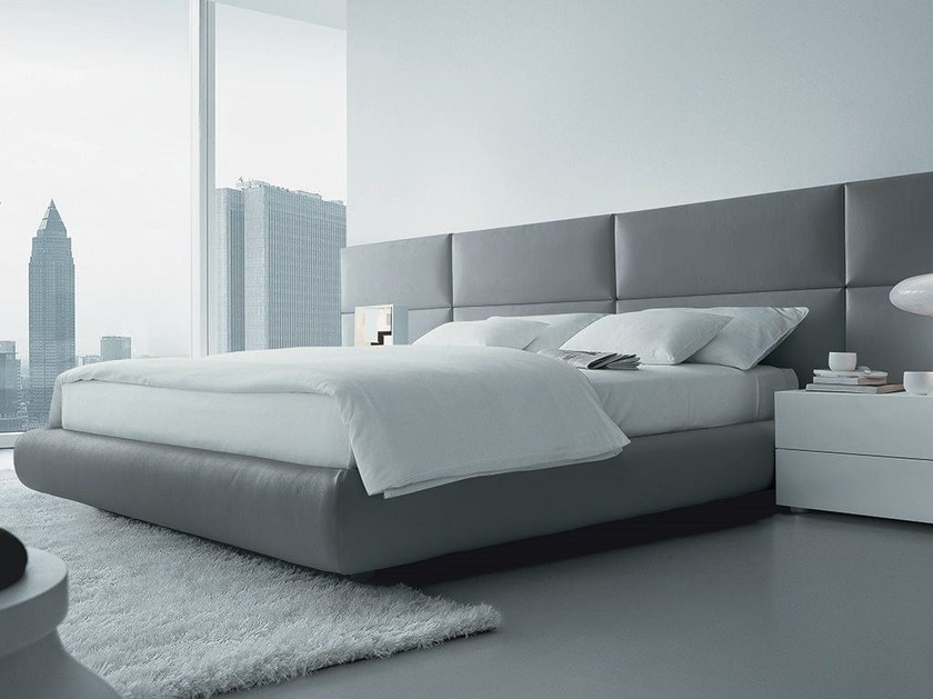 Leather double bed with upholstered headboard DREAM | Imitation leather bed - Poliform
