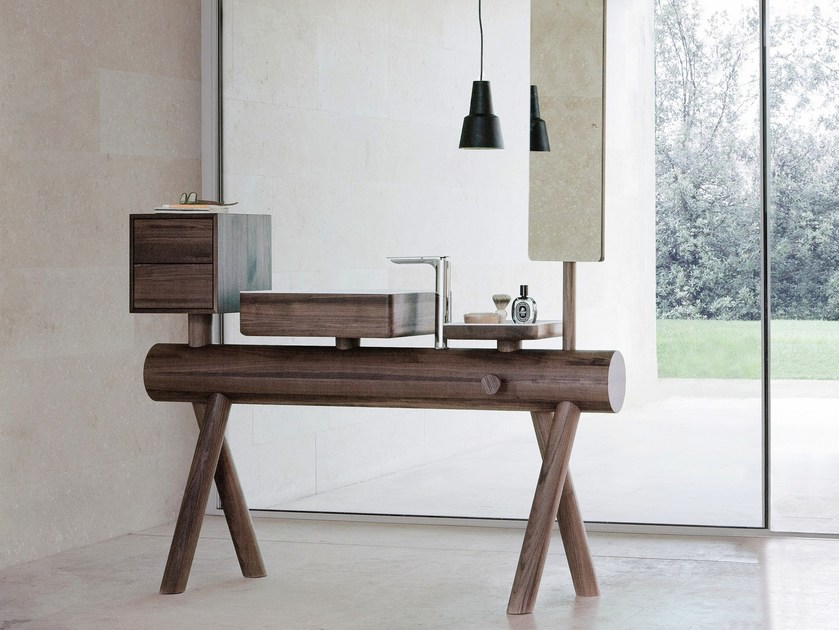 Walnut vanity unit with mirror DRESSAGE | Vanity unit - Graff Europe West