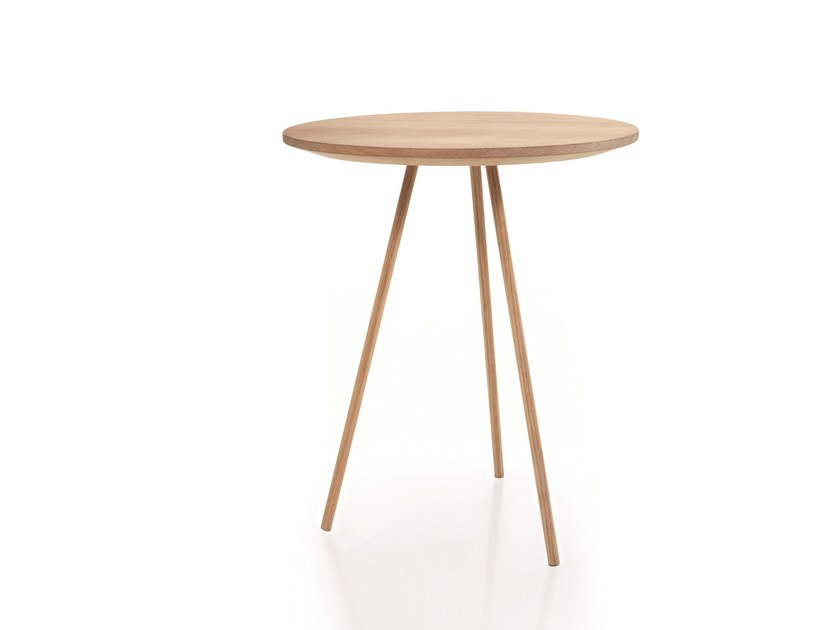 Round wooden side table for living room DRIP | Wooden coffee table by more