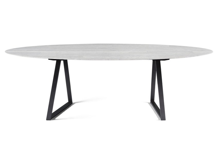 Oval marble table DRITTO   Oval table by SALVATORI