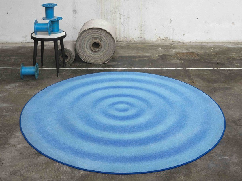 Round rug with optical pattern DROP CARPET by Besana Moquette
