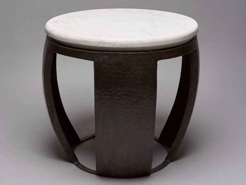 Round bronze and marble side table DRUM by Reda Amalou