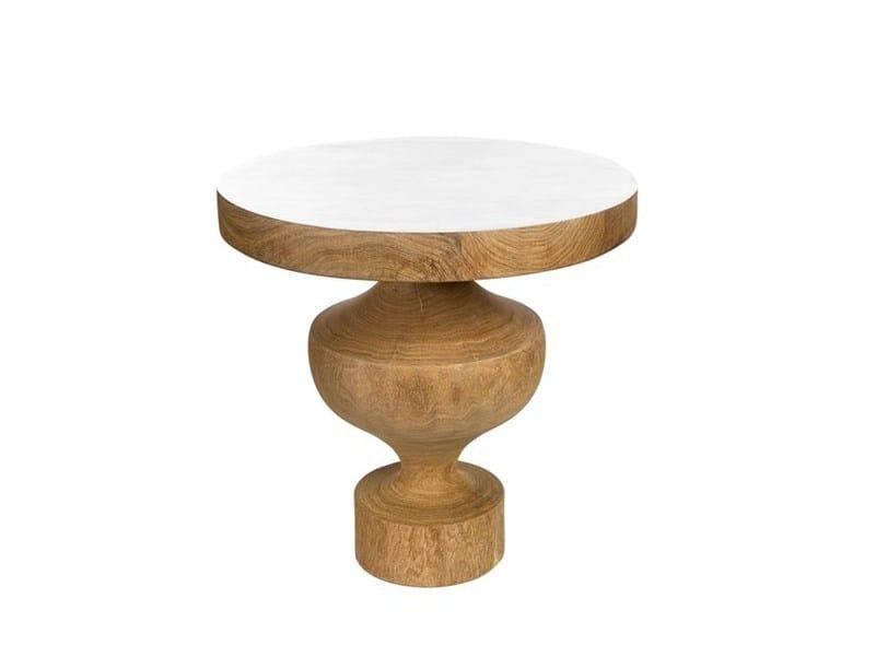 Tavolino di servizio laccato rotondo in legno DUCHESSE - Pols Potten