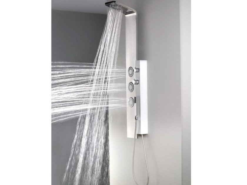 Wall-mounted thermostatic shower panel with hand shower DUE by Systempool