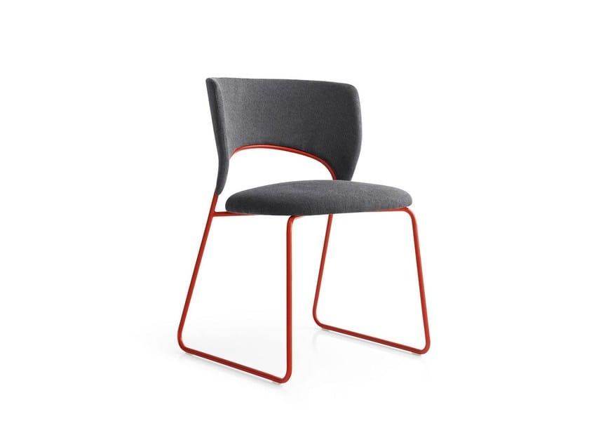 Sled base fabric chair DUFFY - Calligaris