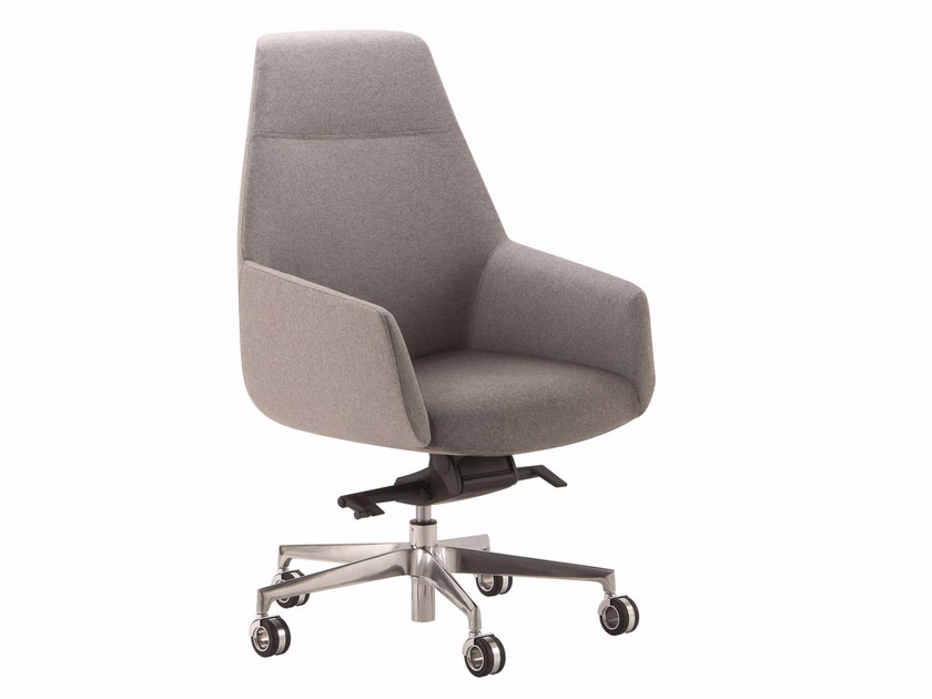 Fabric executive chair with 5-spoke base with armrests with casters DUNE | Medium back executive chair by Quadrifoglio