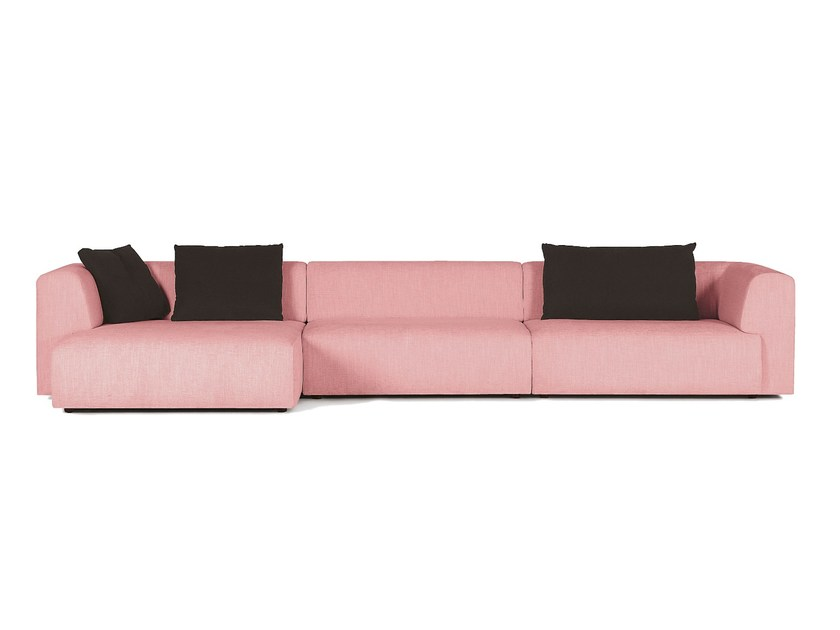 Fabric sofa with chaise longue DUO | Sofa with chaise longue - SANCAL