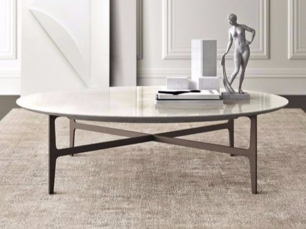 Low round marble coffee table DUPRÈ Ø 130 - Casamilano