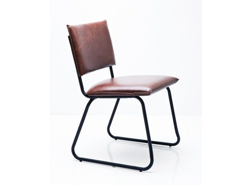Sled base upholstered open back chair DURAN VINTAGE - KARE-DESIGN