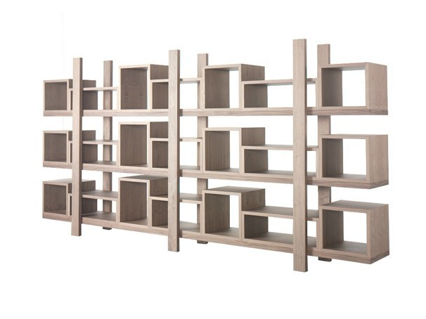 Open double-sided lacquered wood veneer bookcase DURAS - AZEA