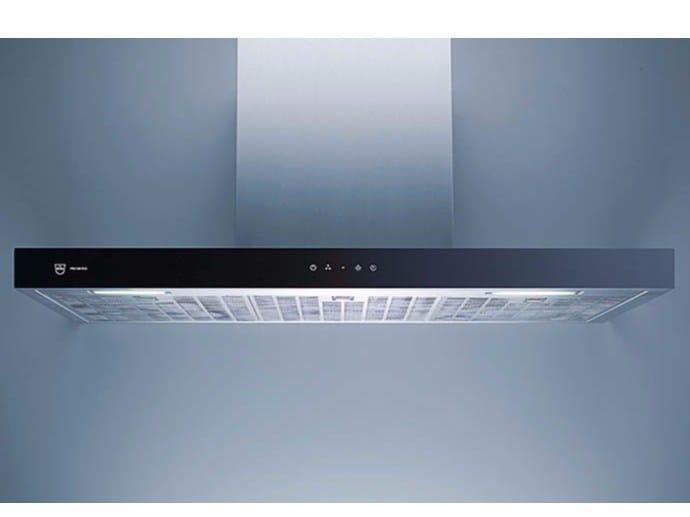 Cappa in acciaio e vetro a parete con illuminazione integrata DW PREMIRA 12 - L 120 CM - V-ZUG