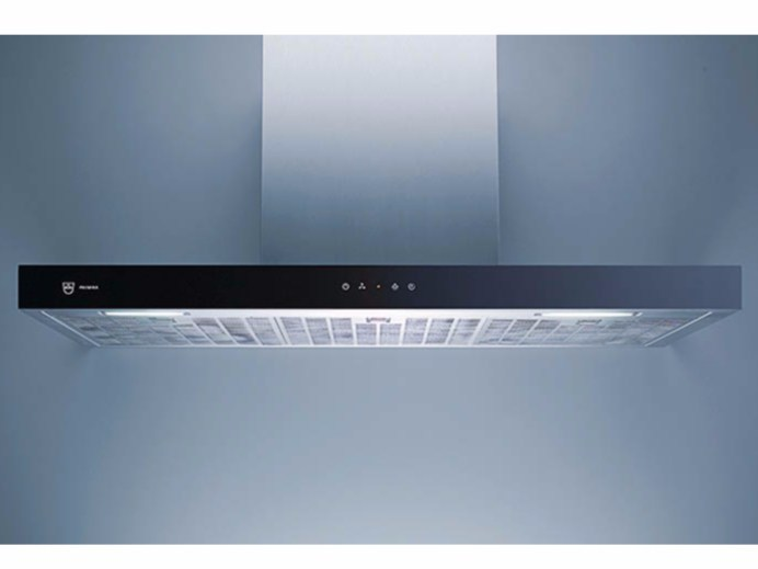 Wall-mounted glass and steel cooker hood with integrated lighting DW PREMIRA 9 - L 90 CM - V-ZUG