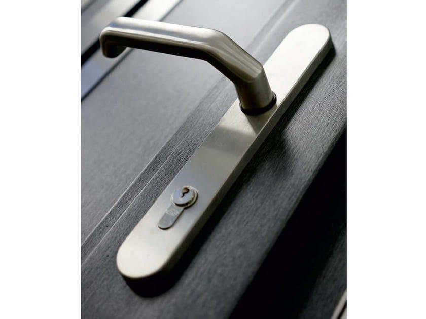 Stainless steel exterior door handle on back plate Door handle by EKO-OKNA