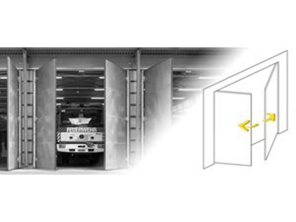 Drive mechanism for folding door leaves Drive systems for swing doors/gates - Gilgen Door Systems