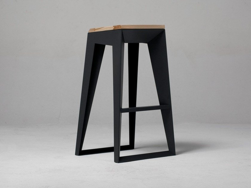 Steel and wood barstool E1 - ODESD2