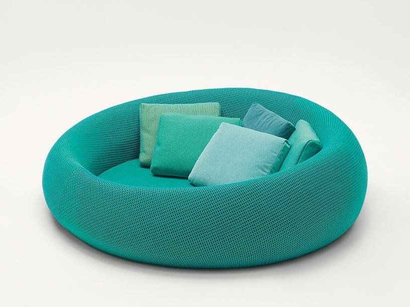 Curved polyester sofa with removable cover EASE by Paola Lenti