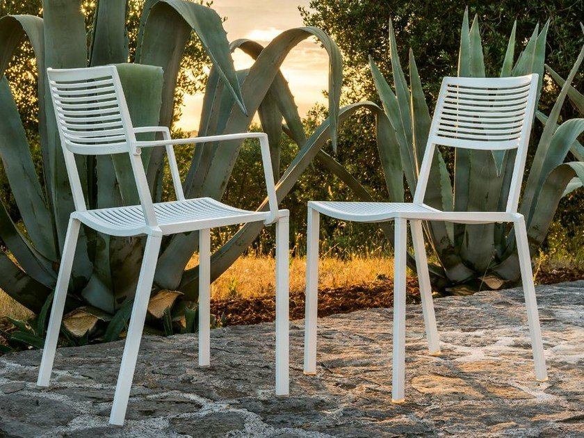 Stackable aluminium chair EASY | Chair by FAST