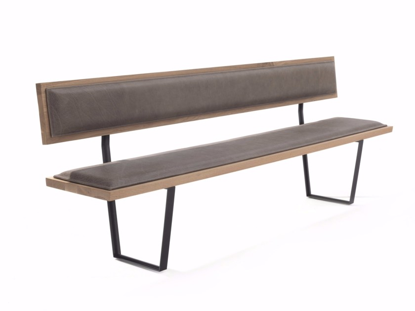 Upholstered leather bench with back EASY BENCH by Riva 1920