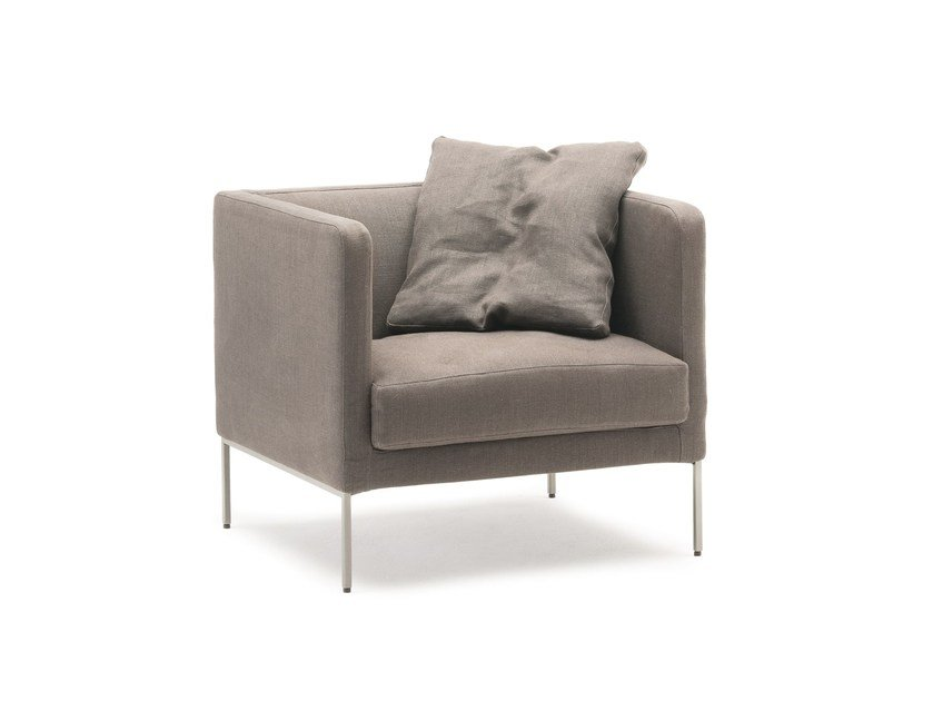 Fabric armchair with removable cover with armrests EASY LIPP | Armchair - Living Divani