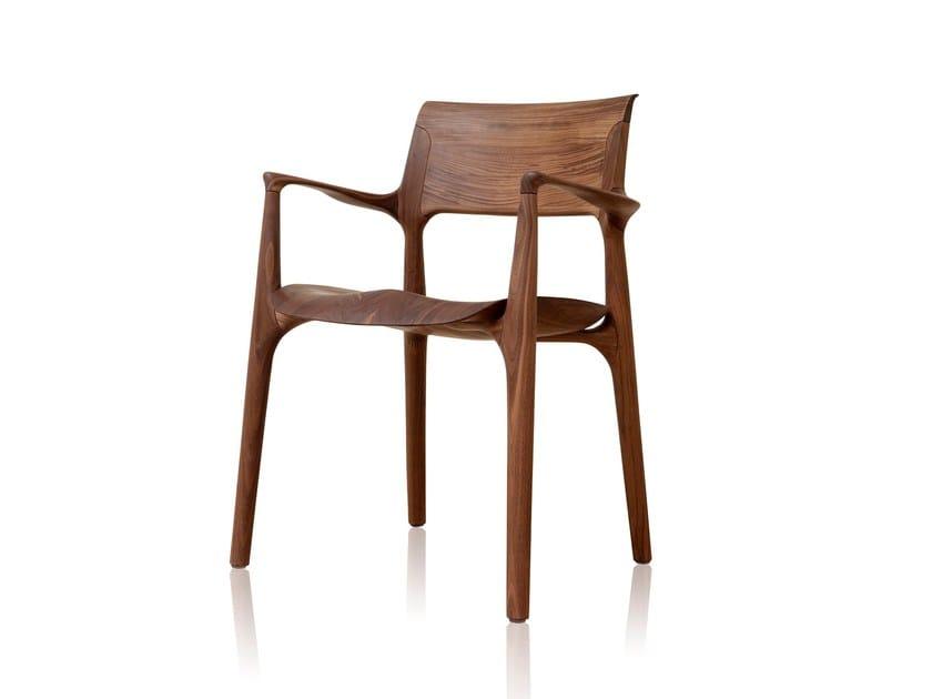 Sedia in legno massello con braccioli EASY | Sedia con braccioli - Sollos
