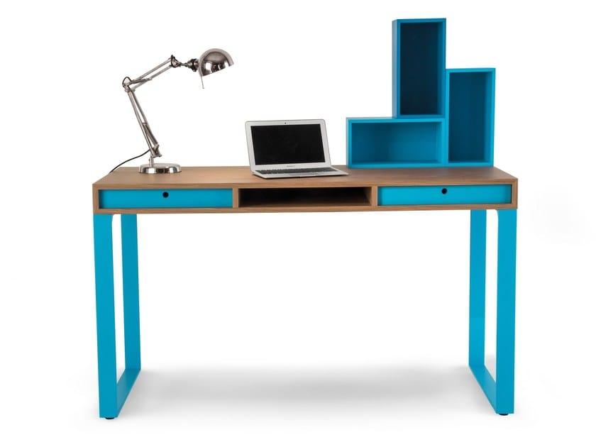 Wood veneer kids writing desk with drawers EASY | Writing desk with drawers - dearkids