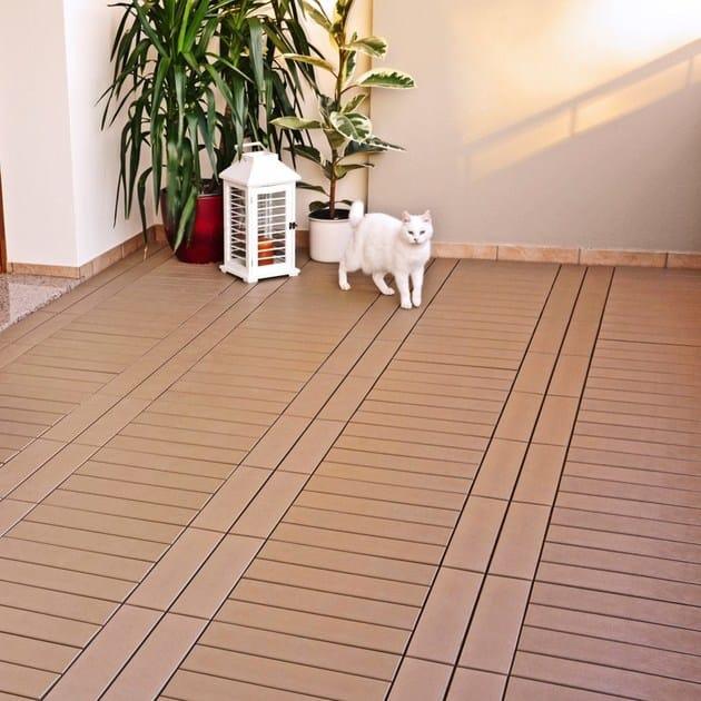 Pavimento per esterni flottante effetto legno easyplate pavimento per esterni onek - Pavimento esterno finto legno ...