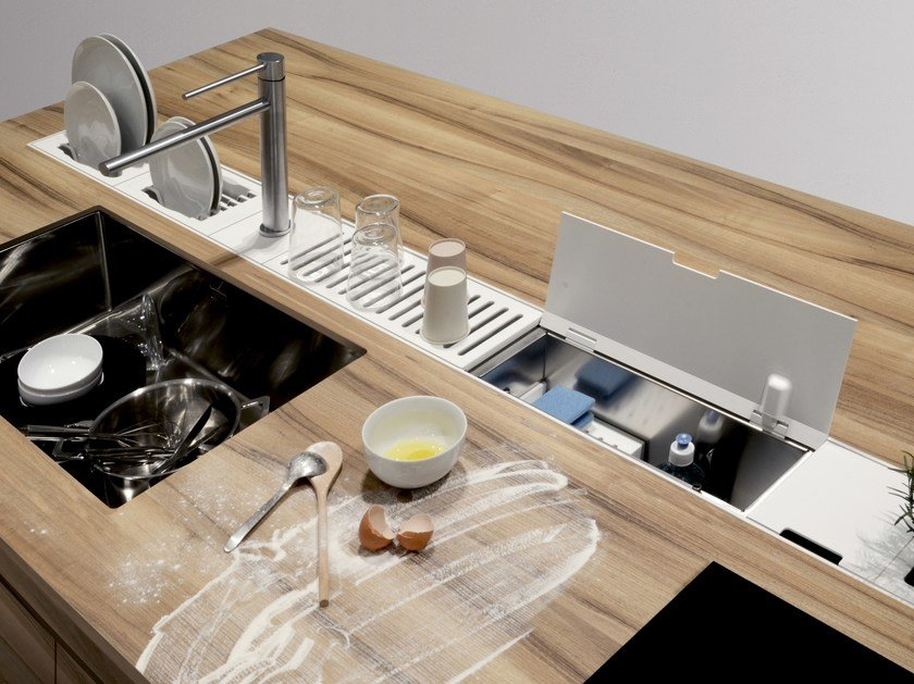 Kitchen equipped track EASYRACK KITCHEN FLAT | Cleaning holder - DOMUSOMNIA
