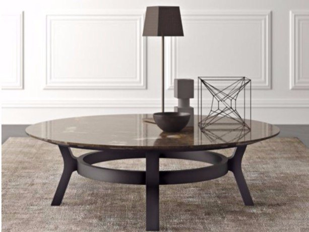 Low round marble coffee table EATON | Low coffee table - Casamilano