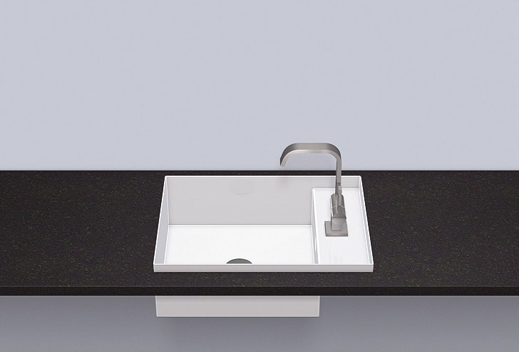 Built-in basin from glazed steel EB.ST525H.R - ALAPE