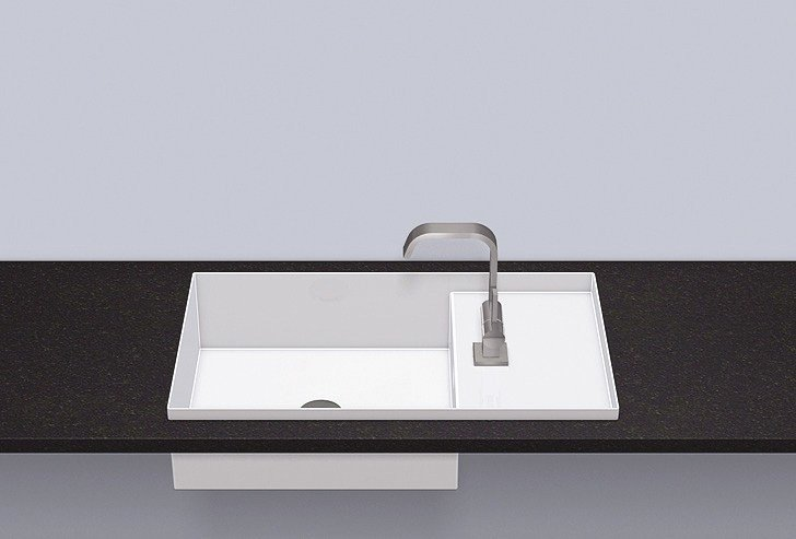 Built-in basin from glazed steel EB.ST700H.R - ALAPE