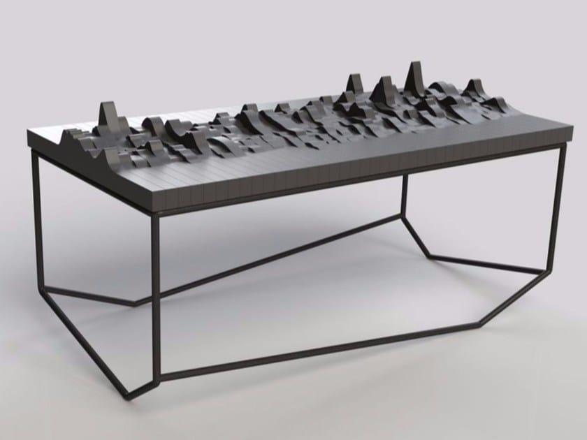 Rectangular multi-layer wood coffee table ECHO by MALHERBE EDITION