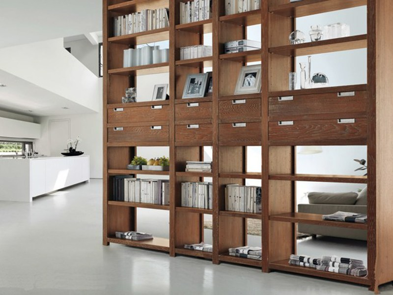Freestanding double-sided wooden shelving unit ECLETTICA | Double-sided bookcase - Devina Nais